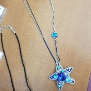 Betsey Johnson starfish and key charm necklace